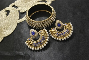 New Ram Leela Blue colour Earrings with Gold Plated Stones Kada