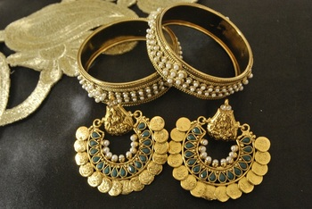 Ram Leela Green colour Earrings with Pearl Bangles