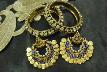 Ram Leela Blue colour Earrings with Gold Plated Bangles