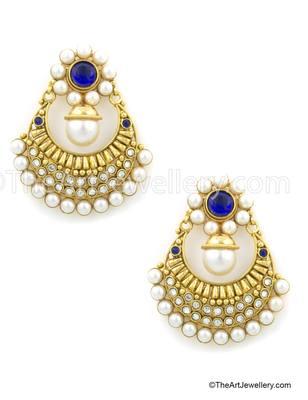 Royal Blue Traditional Rajwadi Dangle and Drop Earrings Jewellery for Women - Orniza