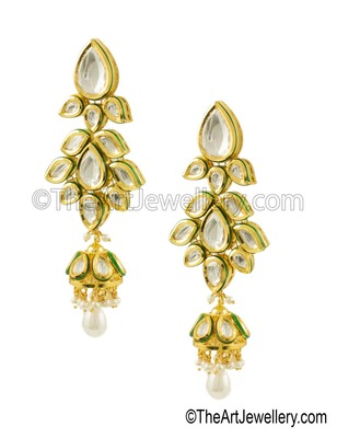 Clear Vilandi Kundan Jhumki Earrings Jewellery for Women - Orniza