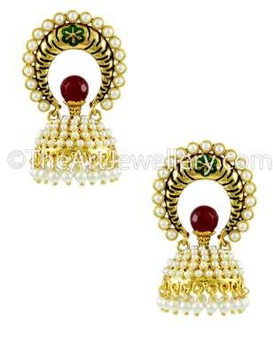 Red Green Traditional Rajwadi Jhumki Earrings Jewellery for Women - Orniza