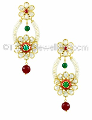 Red Green Polki Stones Dangle and Drop Earrings Jewellery for Women - Orniza