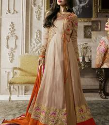Buy Light beige multi resham work silk salwar with dupatta diwali-salwar-kameez online