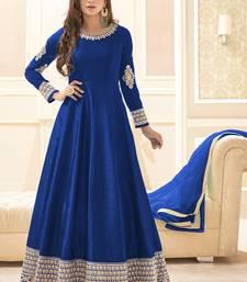 Buy Royal blue multi resham work banarasi silk salwar with dupatta salwar-kameez online