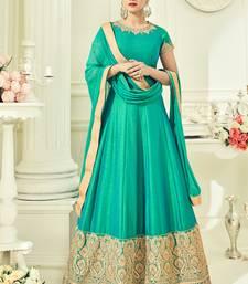 Buy Green multi resham work silk salwar with dupatta salwar-kameez online