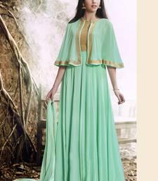 Buy Light green embroidered georgette salwar with dupatta kaftan online