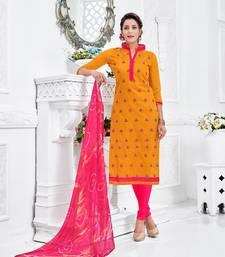Buy Yellow embroidered chanderi salwar with dupatta salwar-kameez-below-1000 online