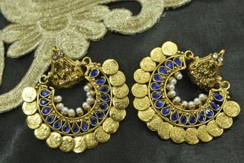 Ram Leela Royal Blue colour Coin Earrings