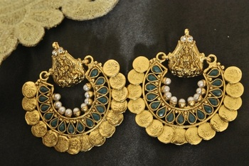 Ram Leela Royal Green colour Coin Earrings