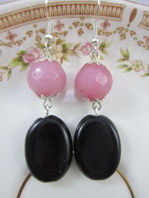 Pink and Black Earrings