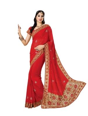 Blood Red, Golden embellish Georgette Designer Saree With Blouse