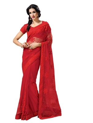 Blood Red embellish Net Designer Saree With Blouse