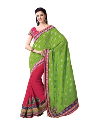 Green, Dark Pink embellish Viscose Designer Saree With Blouse