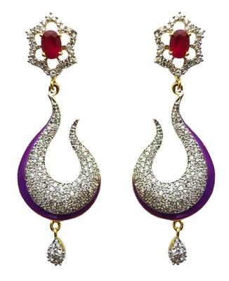 Vatika pink and purple american diamond earring