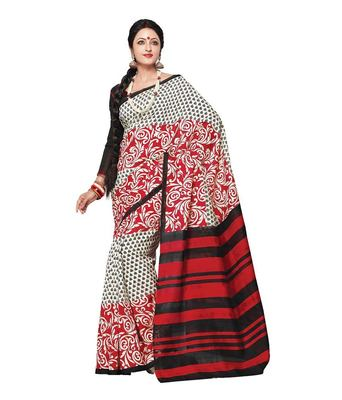 Red bhagalpuri silk printed-sarees