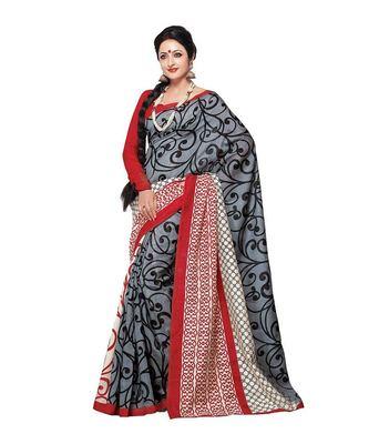 gray bhagalpuri silk printed-sarees