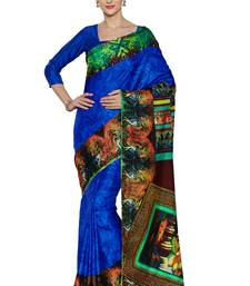 Buy Royal blue printed manipuri silk saree with blouse manipuri-silk-saree online