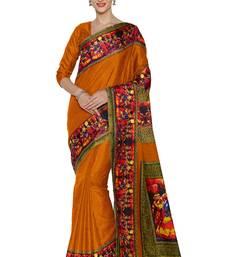 Buy Mustard printed manipuri silk saree with blouse manipuri-silk-saree online