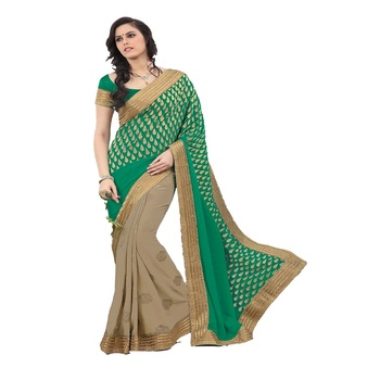beige and green Georgette Designer Saree With Blouse Piece