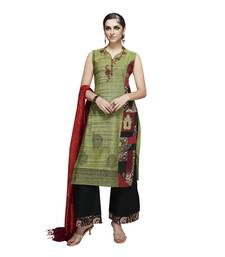 Buy green resham embroidery cotton stitched salwar with dupatta readymade-suit online