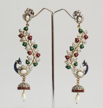 Peacock Antique Pearl Teardrop Jhumka Earrings