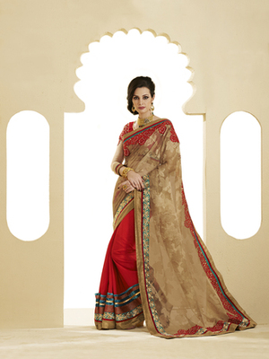 Golden Net Jacquard Designer Saree