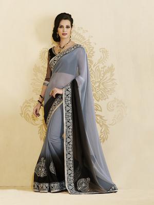 Heritage Grey Chiffon Designer Saree
