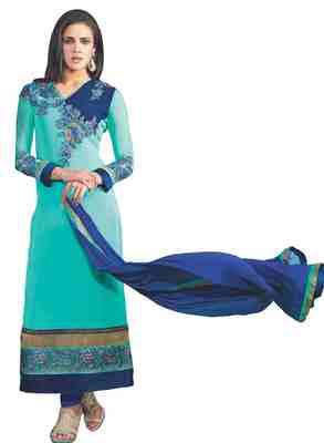 Sensational Embroidered Faux Georgette Salwar Kameez