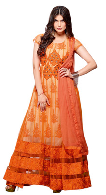 Rattling Orange Colored Georgette Net Anarkali