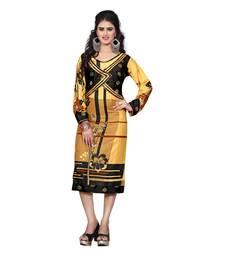 Buy Golden printed rayon stitched kurtas-and-kurtis kurtas-and-kurtis online