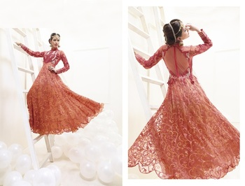 Orange color heavy embroided semistitched designer anarkali suit