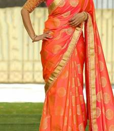 Buy Orange printed silk saree with blouse women-ethnic-wear online