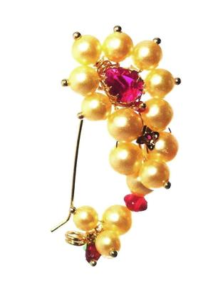Nath CLIP type BIG size Maharashtrian traditional Nose ring of Pearl beads
