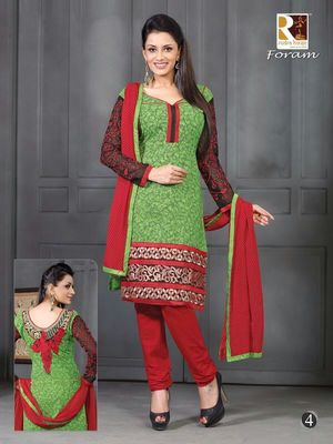Green Embroidery Cotton unstiched SalwarCotton salwar kameez