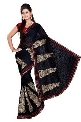 Aesha designer Black Brasso Saree with matching blouse