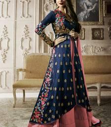 Buy Navy blue multi resham work silk salwar with dupatta malaika-arora-khan online