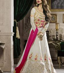 Buy Off white multi resham work silk salwar with dupatta malaika-arora-khan online