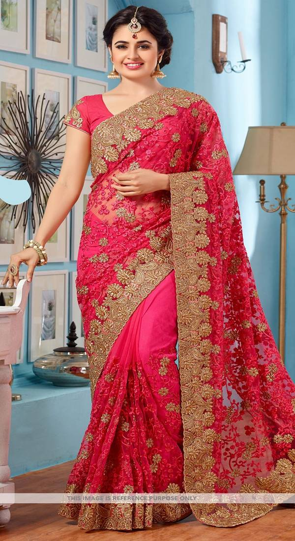 Buy Pink Embroidered Net Saree With Blouse Online