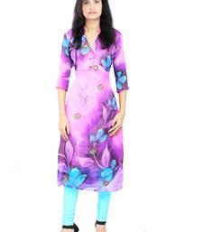 Buy Pink printed stitched chiffon-kurtis chiffon-kurti online