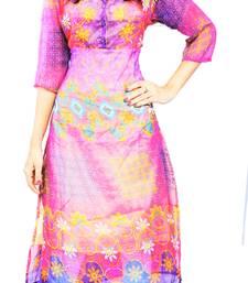 Buy Purple printed stitched chiffon-kurtis chiffon-kurti online