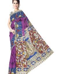 Buy purple printed cotton kalamkari saree with blouse kalamkari-saree online