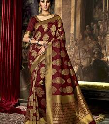 Buy Dark maroon printed poly cotton saree with blouse south-indian-saree online