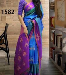 Buy Blue printed silk saree with blouse art-silk-saree online