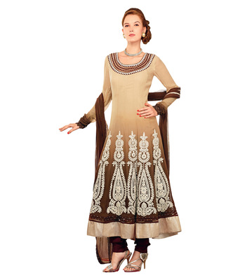 Ethnicbasket Georgette Anarkali Suit Cream & Coffee Colored Semistitched Dress.