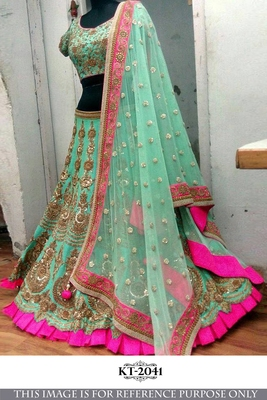 Sea green color embroidered silk unstitched wedding lehenga