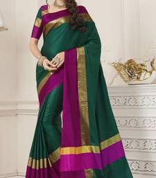 Buy Green soft silk saree with blouse traditional-saree online