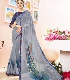 Buy Grey printed georgette saree with blouse below-1500 online