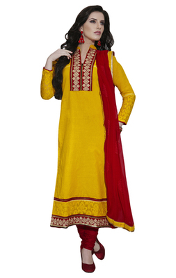 Yellow Embroidered Cotton Unstiched