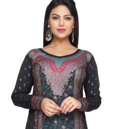 Buy Black with Cyan Green  American Crepe Printed Long Kaftan  with Long Sleeves kaftan online